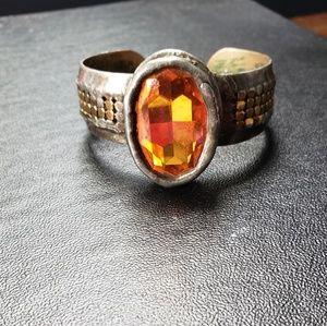 Mikal Winn Swarovski Crystal Brass Cuff